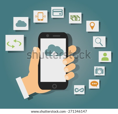 Concept of cloud services on mobile phone such as storage, computing, search, photo album, data exchange. With colorful icons or web buttons around mobile device. Rasterized bitmap version. - stock photo