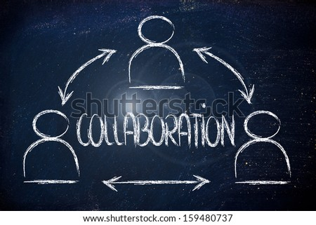 concept of collaboration, design with group of colleagues interacting - stock photo