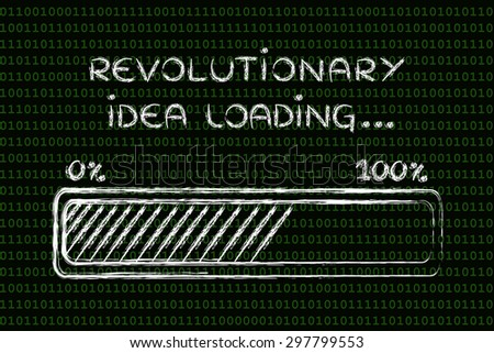 concept of coming up with a revolutionary idea, funny progress bar illustration - stock photo