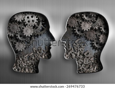 concept of communication, dialog, information and knowledge exchange - stock photo