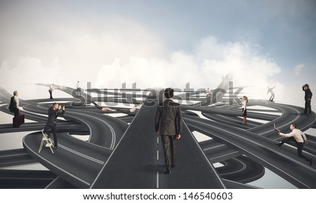 Concept of competition and easy way of a businessman - stock photo