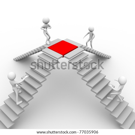 concept of competition. 3d men achieving target - stock photo