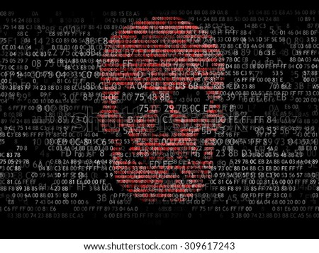 Concept of computer security. The skull of the hexadecimal code. Pirate online. Cyber criminals. Hackers cracked the code - stock photo