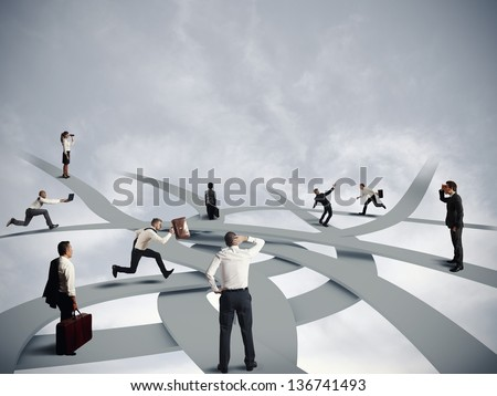 Concept of confusion and business career - stock photo