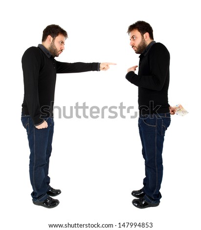 Concept of consciousness for bribe of money on white background - stock photo