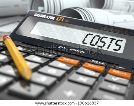 Concept of costs calculation, Calculator. Three-dimensional image. - stock photo
