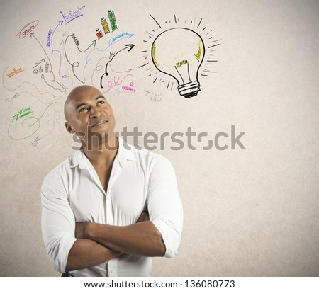 Concept of creative business of a businessmsn - stock photo