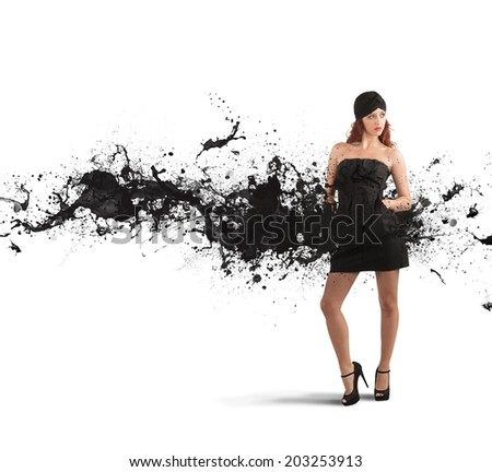 Concept of creative fashion with black motion effect - stock photo