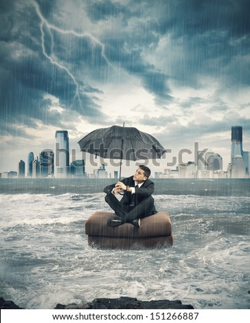 Concept of crisis storm in business - stock photo