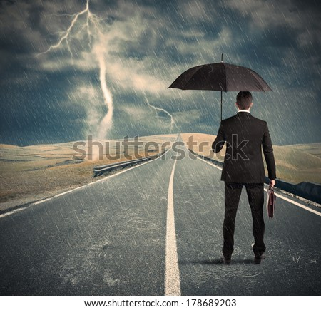 Concept of crisis with difficult long way - stock photo