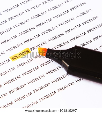 Concept of crossing out problem and finding the solution - stock photo