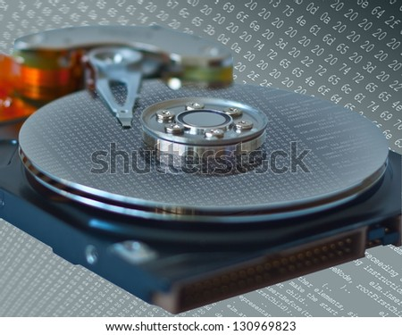 Concept of data storage and safety presented by close up of opened hard disk drive with abstract dump of data or program list reflection. isolated on digital background. Three clipping paths included. - stock photo