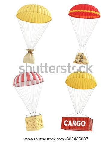 Concept of delivery. Set of colorful parachutes with different packages for delivery. Cardboard box, wooden box, shipping container and sack. - stock photo