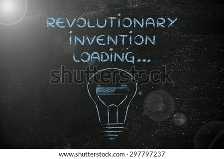concept of developing a revolutionary invention, funny lightbulb illustration - stock photo