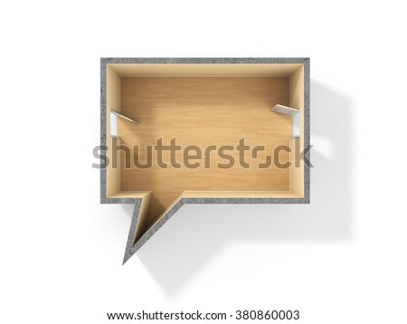 Concept of dialog. Idea of speaking. Room in form of dialog with two doors. Two entry in room for speak. - stock photo