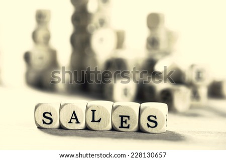 Concept of dices with letters forming words - stock photo