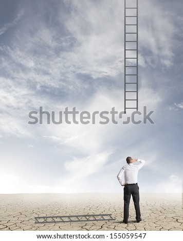 Concept of difficulty in business with broken stairs - stock photo