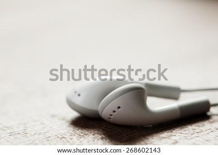 concept of digital music white Headphones isolated - stock photo