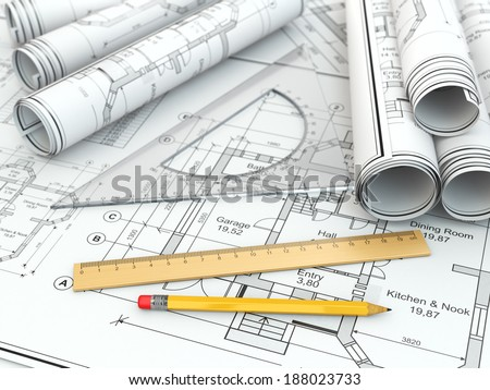 Concept of drawing. Blueprints and drafting tools. 3d - stock photo