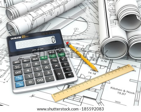 Concept of drawing. Blueprints, drafting tools and calculator. 3d - stock photo