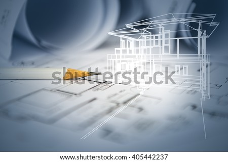 concept of dream house draw by designer with construction drawing as background - stock photo