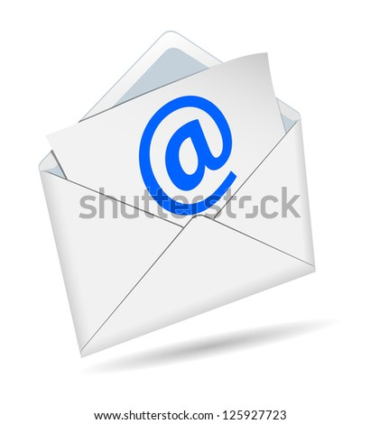 Concept of e-mail on a white background - stock photo