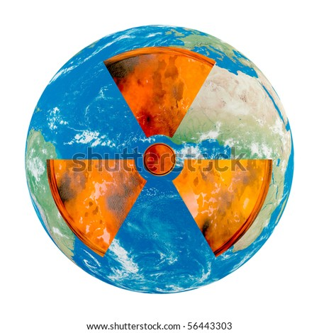 Concept of Earth with nuclear danger on white background - stock photo