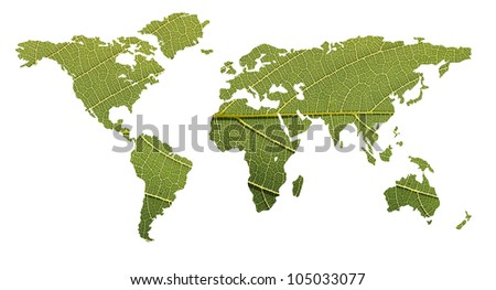 Concept of ecological balance showing world map formed using highly detailed photo of a leaf with clipping path - stock photo
