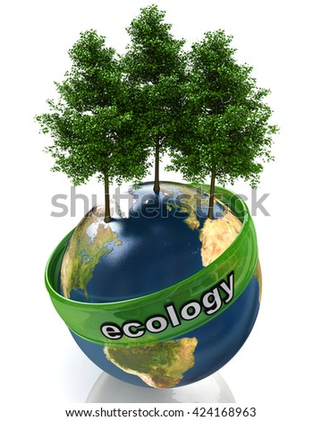 concept of ecology in the design of the information related to the global problems. 3d illustration - stock photo
