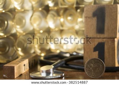 concept of economy health care and public health service - stock photo