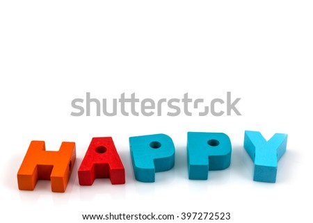 Concept of Education. English alphabet letters write happy on  white  background - stock photo