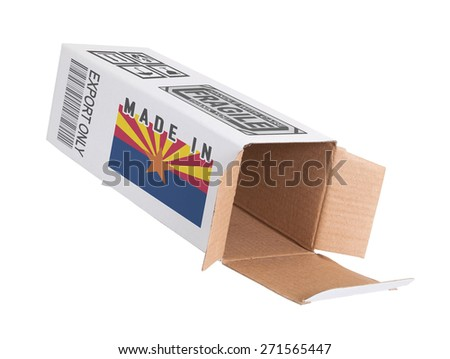 Concept of export, opened paper box - Product of Arizona - stock photo