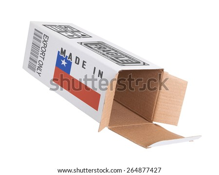 Concept of export, opened paper box - Product of Chile - stock photo