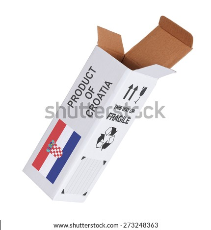 Concept of export, opened paper box - Product of Croatia - stock photo