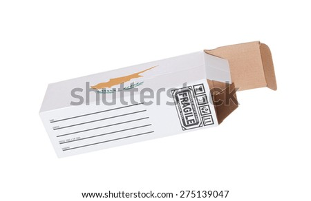 Concept of export, opened paper box - Product of Cyprus - stock photo
