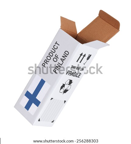 Concept of export, opened paper box - Product of Finland - stock photo