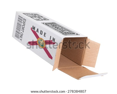 Concept of export, opened paper box - Product of Florida - stock photo