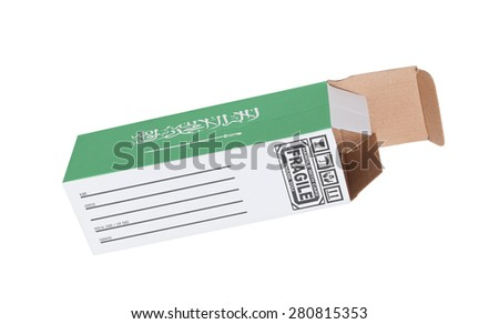 Concept of export, opened paper box - Product of Saudi Arabia - stock photo
