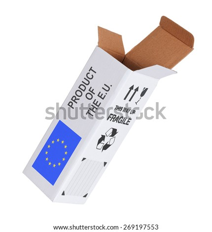 Concept of export, opened paper box - Product of the European Union - stock photo