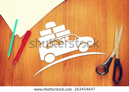 Concept of family trip by the car - stock photo