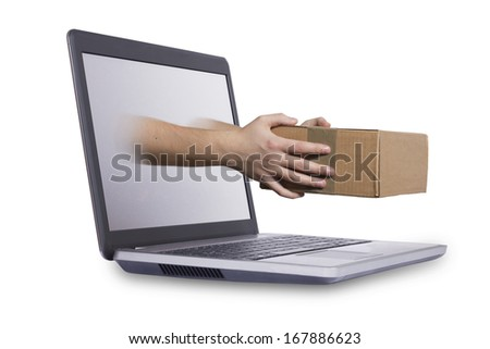 Concept of fast or instant shipping, on white background - stock photo