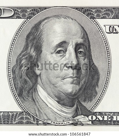 Concept of financial crisis - crying president Franklin on the hundred dollar bill - stock photo