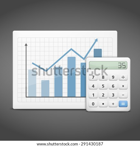 Concept of financial success, blue bar graph with white calculator on dark background - stock photo