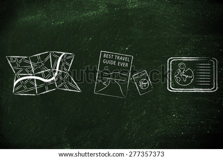 concept of finding your way when travelling: maps, guide, passport and gps devices - stock photo