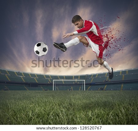 Concept of football player at stadium with spray effect - stock photo