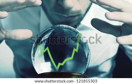 Concept of forecasts of the financial crisis - stock photo