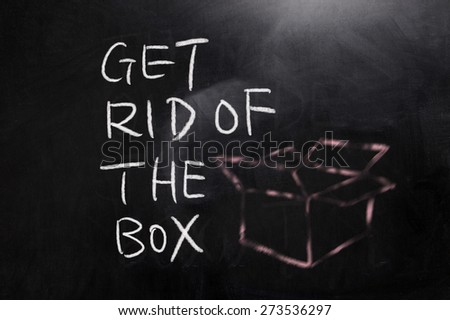 concept of Get rid of the box  on blackboard - stock photo