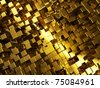 concept of golden cubes city background - stock photo