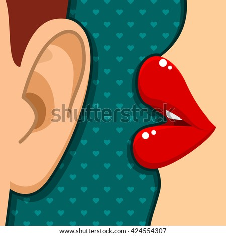Concept of gossip or love. Female lips speak in the male ear. Flat illustration. - stock photo