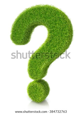 Concept of grassed question symbol in the design of information related to the faq - stock photo
